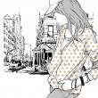Cute fashion girl on street background — Stock Vector