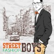 Stylish dude on street-background — Image vectorielle