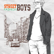 Stylish dude on street-background — Stockvectorbeeld