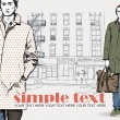 Stylish dude with bag on a street-background — Image vectorielle