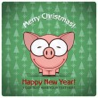 Christmas greeting card with cartoon pig — Stock Vector