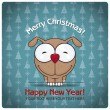Christmas greeting card with cartoon doggy — Stock Vector