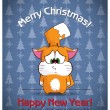 Christmas greeting card with cartoon cat — Stock Vector
