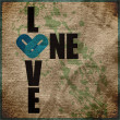 One love grunge text on a paper-background — Stock Vector #33975333