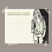 Message card with fashion girl fixed with sticky tape — Stock Vector