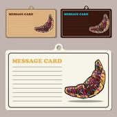 Set of vector message cards with cartoon croissants. — Stock Vector