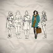 Beautiful poster with fashion girls — Stock Vector