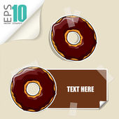 Set of vector message cards with cartoon donuts — Stock Vector
