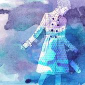 Illustration of pretty girl in sketch style — Stockvektor