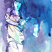 Illustration of pretty girl in sketch style — Vecteur