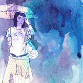 Illustration of pretty girl in sketch style — Stock vektor