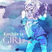 Pretty girl in sketch style — Wektor stockowy