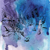 Hand drawn watercolor background with illustration of passenger in a train — Vecteur