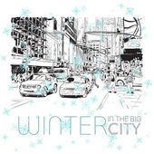 Winter in the big city — Stock Vector