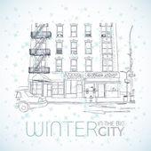 Winter in the big city — Stockvektor