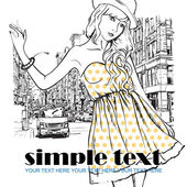 Cute fashion girl on a street background — Stock Vector
