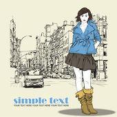街道背景上女孩可爱时尚 — 图库矢量图片