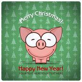 Tarjeta de felicitación de Navidad con cerdo de la historieta — Vector de stock