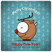 Christmas greeting card with cartoon deer — Stockvektor