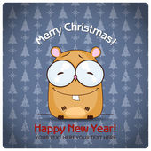 Christmas greeting card with cartoon hamster — Stock Vector