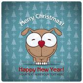 Christmas greeting card with cartoon doggy — Stock Vector