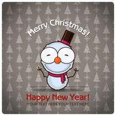 Christmas greeting card with cartoon snowman — Stock Vector