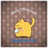 Christmas greeting card with cartoon cat — Stock Vector