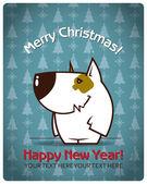 Christmas gratulationskort med tecknade doggy — Stockvektor
