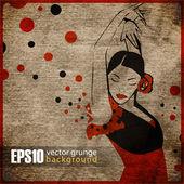 Vintage background with flamenco dancer — Vector de stock