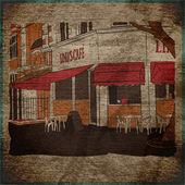 Vintage background with street cafe view — Vetor de Stock