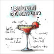 Hand drawn illustration of cocktail. DAIQUIRI STRAWBERRY — Vettoriali Stock