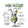 Hand drawn illustration of cocktail. BLUE HAWAII — Image vectorielle