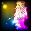 Illustration of a neon girl — Stock Vector