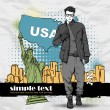 Stylish guy on a usa-background — Stock Vector