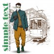 Vector illustration of a stylish guy and old tram — Stock Vector #34236813