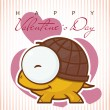 Valentine's day greeting card with cartoon turtle character. — Stock Vector