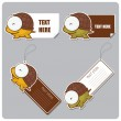 Set of tags and stickers with funny cartoon turtle. — Stock vektor