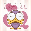 Valentine's day greeting card with cartoon duck character. — Stockvektor