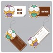 Set of tags and stickers with funny cartoon duck — Stock Vector