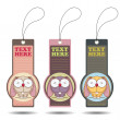 Set of tags with funny cartoon rabbit. — Stock Vector