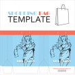 Template for paper shopping bag with girl character — Imagen vectorial