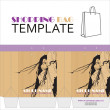 Template for paper shopping bag with girl character — Stok Vektör