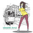 Vector illustration of pretty fashion girl and old tram — Stock Vector