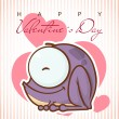 Valentine's day greeting card with cartoon frog characters. — Imagen vectorial