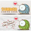Summer vector card with funny cartoon frog. — Stock Vector