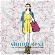 Floral vector card with pretty fashion girl. — Stock Vector