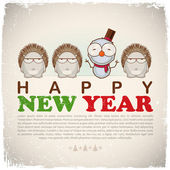 New Year greeting card with snowman and hedgehogs — Stock Vector