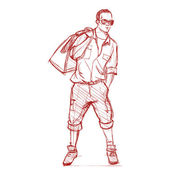 Hand drawing of a stylish boy in sketch style. — Stockvector