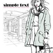 地铁站上的漂亮的冬季时尚女孩. — 图库矢量图片