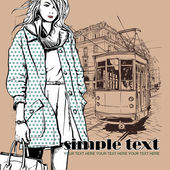 Vector illustration of a pretty fashion girl and old tram — Stock Vector